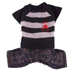 ג'ינס כחול וחולצת פסים עם כוכב אדום