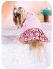 שמלה לכלב - לב ורוד