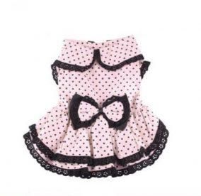 שמלת וינטג' ורודה עם נקודות שחורות